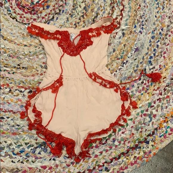 Angel Biba Dresses & Skirts - Angel Biba red tassel romper